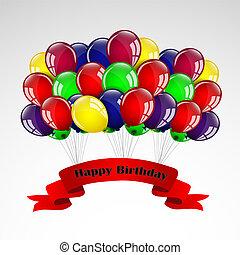 生日, 气球, 卡片, 愉快