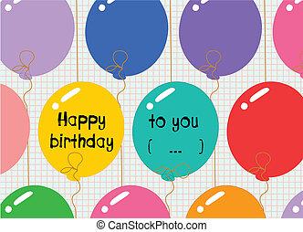 生日, 气球, 愉快