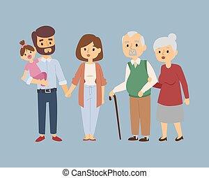 生活方式, 關係, 人們, 夫婦, 插圖, 卡通, 矢量, 字符, friends., 放松, 愉快