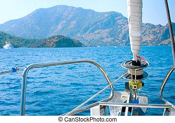生活方式, sailing., yachting., yacht., 豪華, tourism.