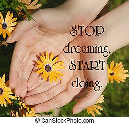 生活, すくうこと, 著者, 引用, 女性, 若い, デイジー, summertime., 花, インスピレーションを与える, 未知, 手, アフリカ