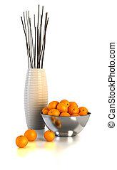 生活, まだ, オレンジ, 花びん