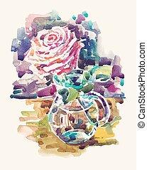 生活, まだ, バラ, イラスト, 手, 水彩画, ガラス, 引かれる, つぼ