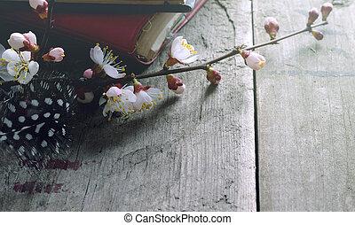 生活, まだ, 古い, 花, 型, 表面, 木製である, カメラ, 本, レトロ, アプリコット, 花