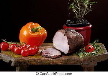 生活, まだ, 肉, パプリカ