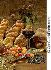 生活, まだ, bread, cherrys, ワイン