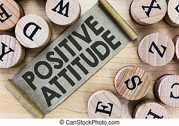 生活, よい, 写真, ある, もの, 提示, 印, 見る, 楽天的である, テキスト, 概念, attitude., ポジティブ