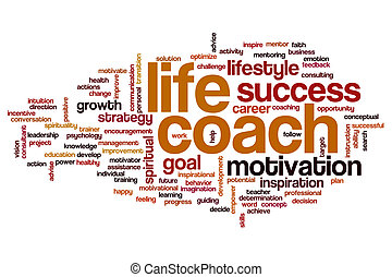 生活, コーチ, 単語, 雲