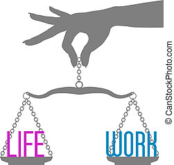 生活, スケール, 仕事, 手, 人, バランス