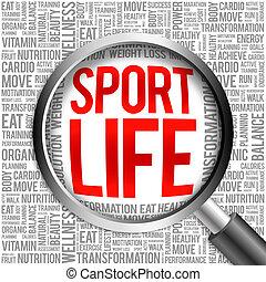 生活, スポーツ, 単語, 雲