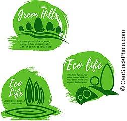 生活, セット, eco, エコロジー, 緑, デザイン, アイコン
