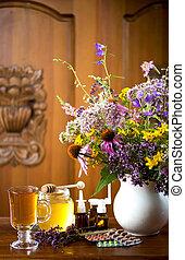生活, ハーブ, 木製である, お茶, 薬, 蜂蜜, 背景, 草, 薬効がある, まだ