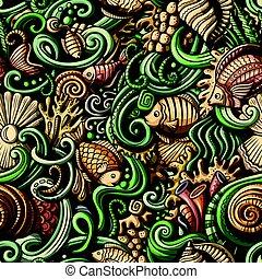 生活, パターン, seamless, 水, 下に, doodles, 漫画
