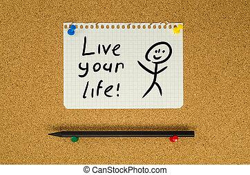 生活, ピン, テキスト, あなたの, メモ, 生きている, 板, メッセージ, ブレティン