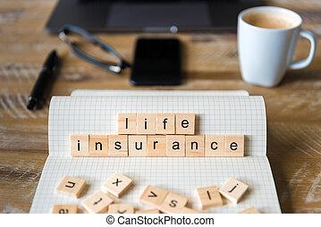 生活, ブロック, 木製である, 上に, フォーカス, ノート, 背景, 木, クローズアップ, 言葉, 作成, 手紙, テーブル, 保険
