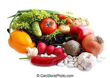 生活, 上に, -, 背景, 白, まだ, 野菜