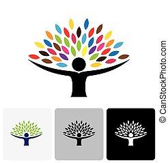 生活, 人々, 抽象的, 木, ベクトル, 人間, ロゴ, アイコン
