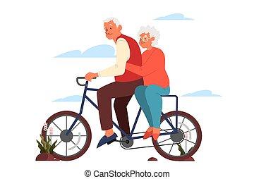 生活, 人, ∥(彼・それ)ら∥, 女, 古い, カラフルである, 乗馬, bicycle., 活動的, 屋外