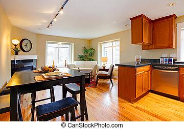 生活, 公寓, 房间, 樱桃, 现代, 厨房