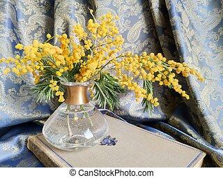 生活, 古い, 生地, 金, 春, フレーム, mimosa, まだ, ひだのある布