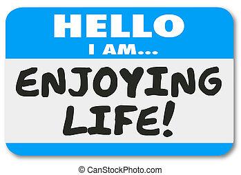 生活, 名前, ステッカー, 休暇, レ, タグ, リラックス, 楽しむ, こんにちは