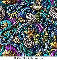 生活, 圖案, seamless, 水, 在下面, doodles, 卡通