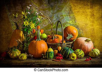 生活, 型, ハロウィーン, 秋, 設定, 秋, テーブル, まだ, カボチャ
