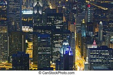 生活, 夜, スカイライン, シカゴ