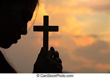 生活, 女, キリスト教徒, 祈る, 神, 手, 祝福, 希望, よりよい, god., 持ちなさい, 祈とう, life., bible., 祈ること, 危機