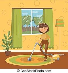 生活, 妇女, 浅黑型, 房间, 年轻, 描述, 矢量, 打扫, 清洁工, 真空, 微笑