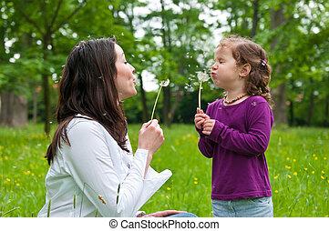 生活, 子供, 時間, -, 母, 幸せ