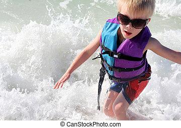生活, 子供, 若い, 海洋, ジャケット, 波, 遊び