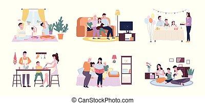 生活, 家族, 出費, 時間, 瞬間, 一緒に