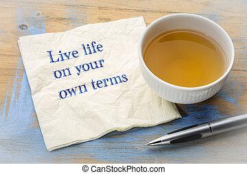 生活, 所有するため, 用語, アドバイス, ナプキン, -, 生きている, あなたの