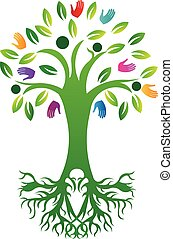 生活, 木, ベクトル, 手, 印刷, ロゴ, 定着する