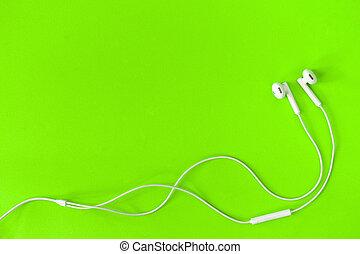 生活, 概念, イヤホーン, space., 背景, 緑, 音楽, 白, コピー, 私