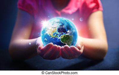 生活, 概念, マジック, アメリカ, 供給される, これ, イメージ, 世界, -, レンダリング, nasa, 子供, 地球, 把握, 日, 要素, 3d