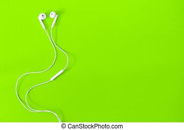 生活, 概念, 上, space., バックグラウンド。, 緑, 音楽, 白, コピー, 私, イヤホーン, 光景