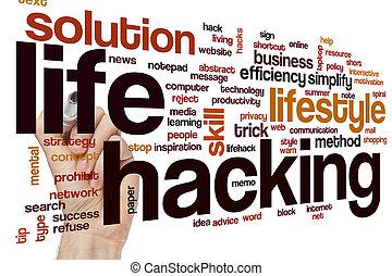 生活, 概念, 単語, ハッキング, 雲