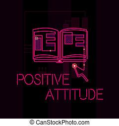 生活, 概念, 単語, ビジネス, ある, もの, 執筆, 見る, よい, 楽天的である, テキスト, attitude., ポジティブ