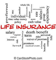 生活, 概念, 単語, 黒板, 保険, 雲