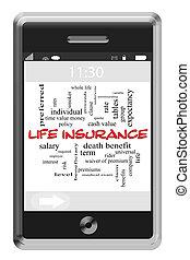 生活, 概念, 単語, touchscreen, 電話, 保険, 雲