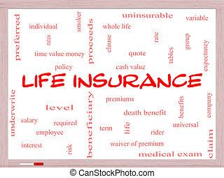 生活, 概念, 単語, whiteboard, 保険, 雲