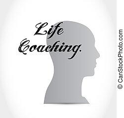 生活, 概念, 头, 签署, 辅导, 图标
