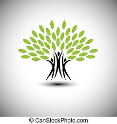 生活, 概念, 幸せ, うれしい, eco, 人々, -, 木, ベクトル, アイコン