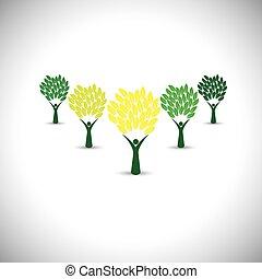 生活, 概念, 幸せ, うれしい, eco, 人々, -, 木, ベクトル