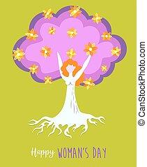 生活, 概念, 春, 木, 女の子, womens, 日, 幸せ
