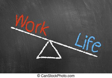 生活, 概念, 黒板, 仕事, チョーク, 不均衡, 図画