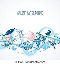 生活, 殻, 背景, 海, 波, 海洋