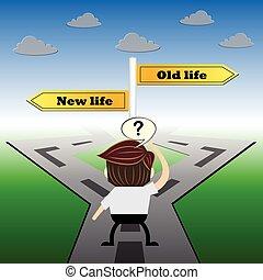 生活, 比喩, ユーモア, 概念, , 選択, デザイン, 新しい, 古い, 印, 道